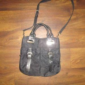 Talbots Black Purse Strap hand bag Silver